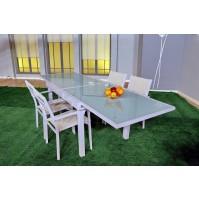 שולחן אלומיניום נפתח בשילוב זכוכית - מדריד